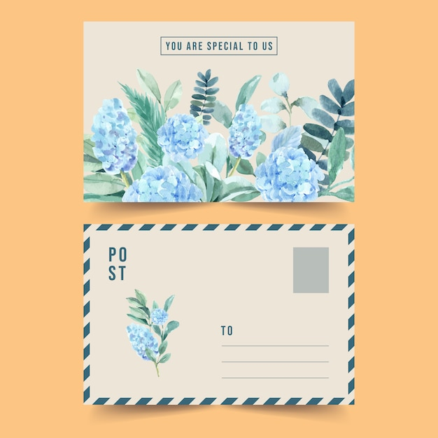 Vintage style floral charming postcard with hydrangea watercolor illustration. Free Vector