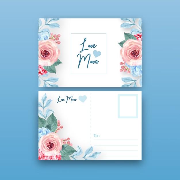 Винтажный стиль цветочные очаровательная открытка с теплой тонированные цвета иллюстрации. Бесплатные векторы