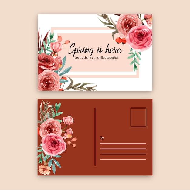 ローズ水彩イラストのビンテージスタイル花エンバーグローはがき。 無料ベクター