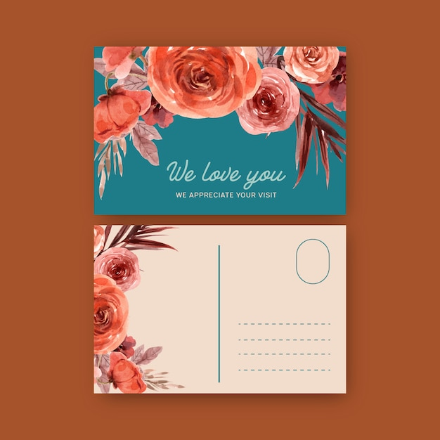 Vintage style floral ember glow postcard with warm toned color illustration. Free Vector