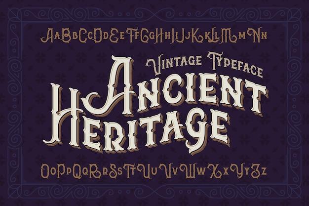 Tipo di carattere stile vintage impostato con ornamento classico Vettore gratuito