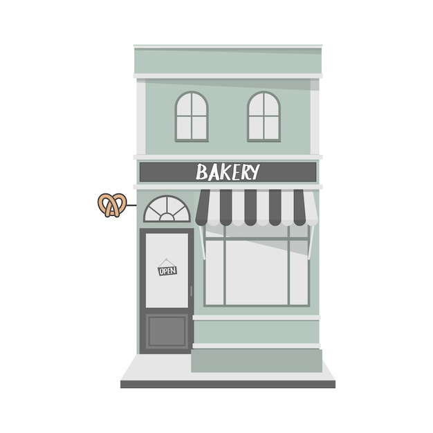 Vintage style house facade with bakery shop in the front. Premium Vector
