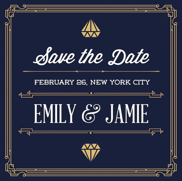 Vintage style invitation for wedding save the day in art deco or nouveau gangster era Premium Vector