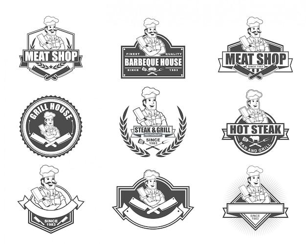Vintage style logo design for meat shop or steak restaurant Premium Vector