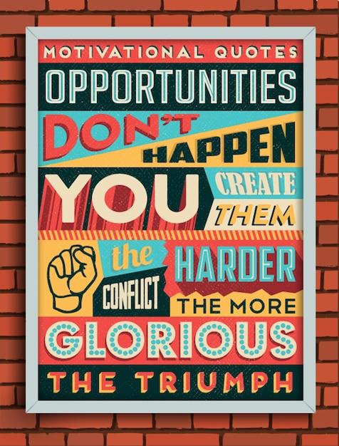 Vintage style poster with a motivational quote Free Vector