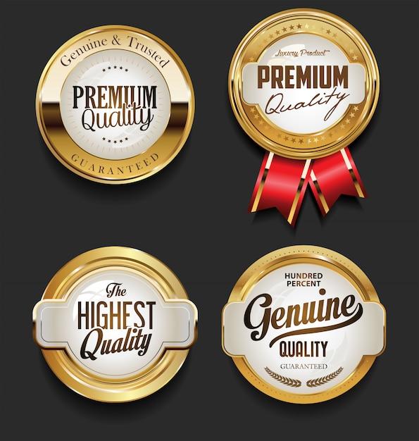 Vintage style premium quality design collection Premium Vector