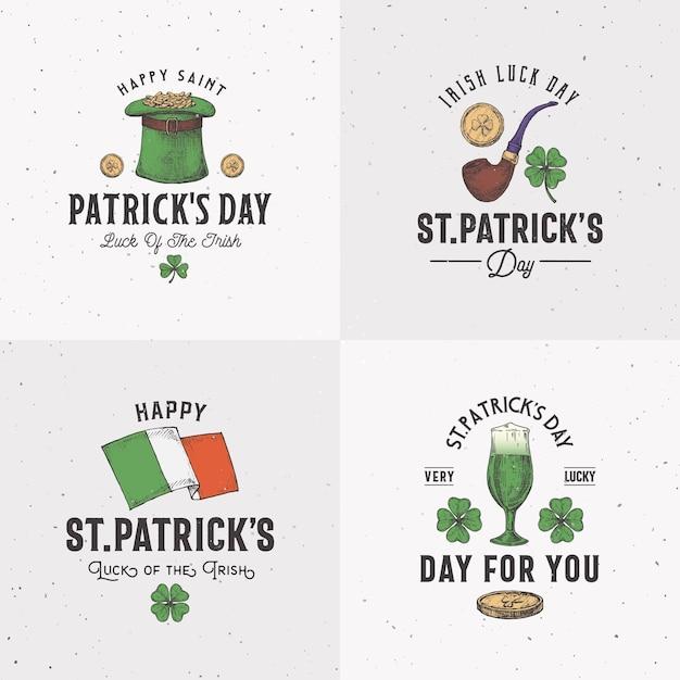 Vintage style saint patricks day logo or label templates set. Premium Vector