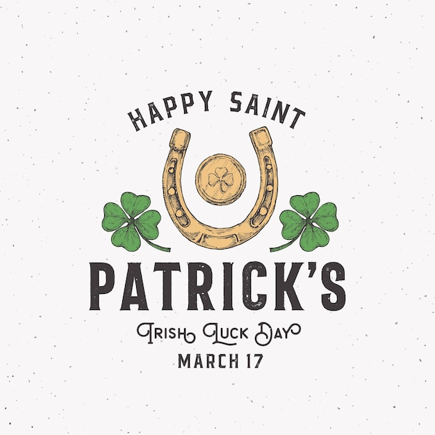 Vintage style saint patricks day logo or label Premium Vector