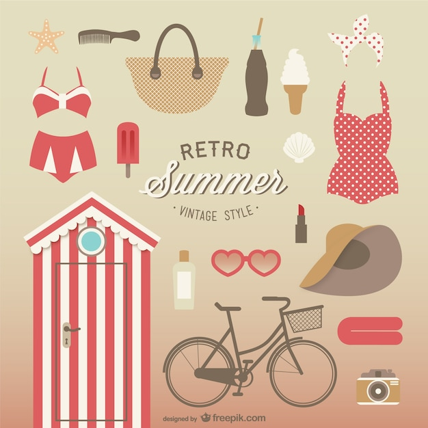 Vintage style summer elements collection Free Vector