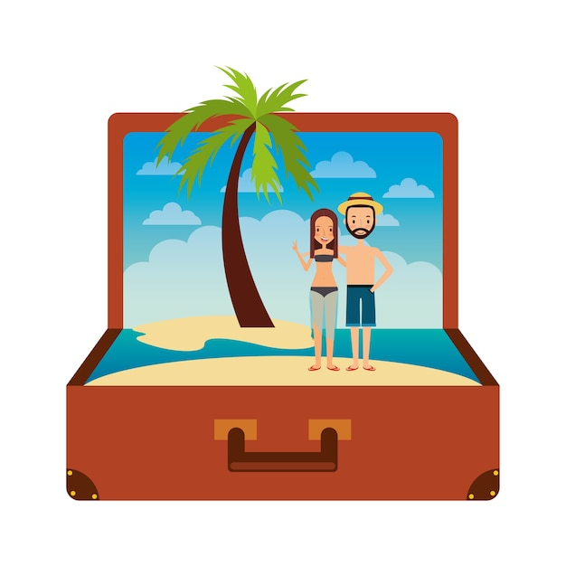 a6ffe790fd Vintage suitcase couple inside with beach palm vacation Vector ...