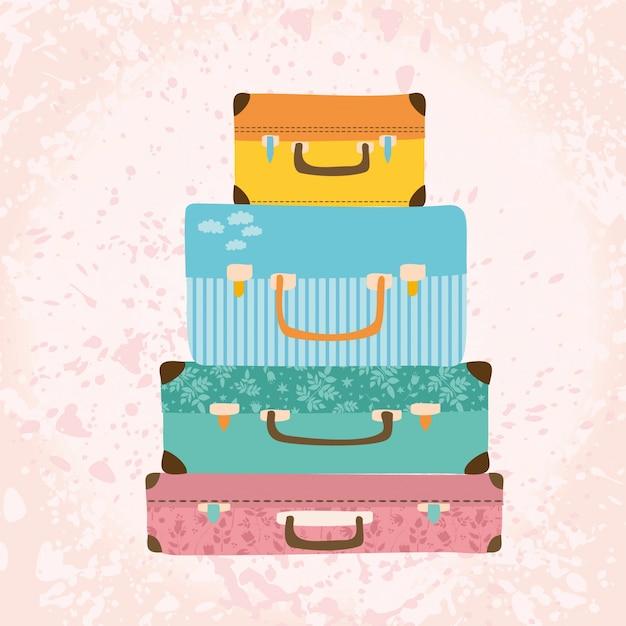 Vintage suitcases. Free Vector