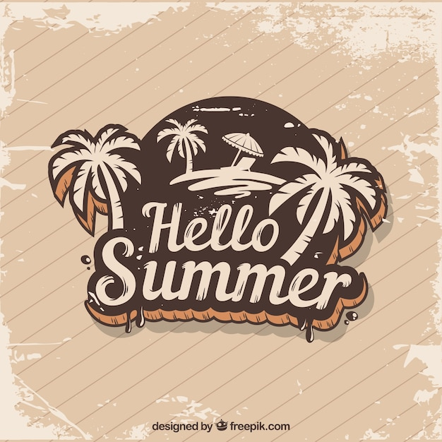 Vintage summer background with palm tree sticker Vector ...