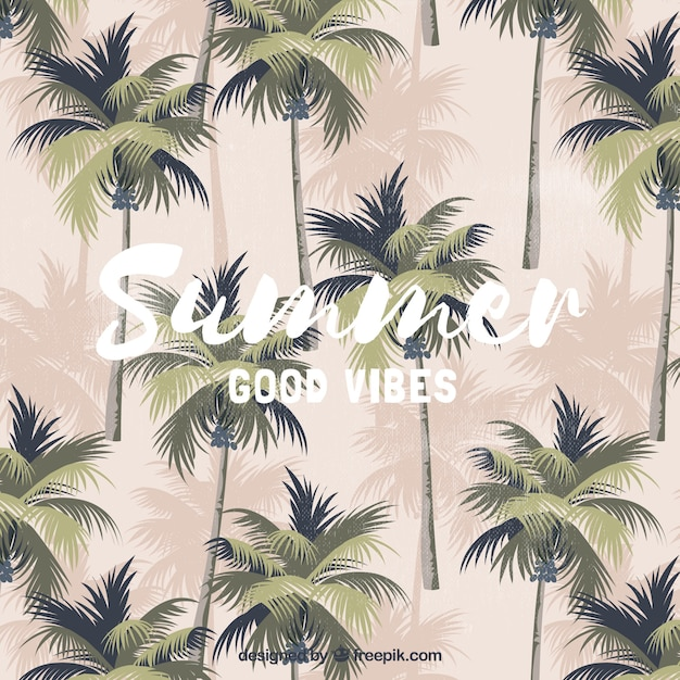 Vintage summer background with palm trees Vector | Free ...