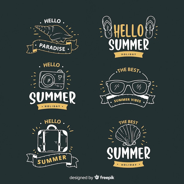 Vintage summer badge collection Free Vector