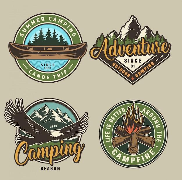 Vintage summer camping labels Free Vector