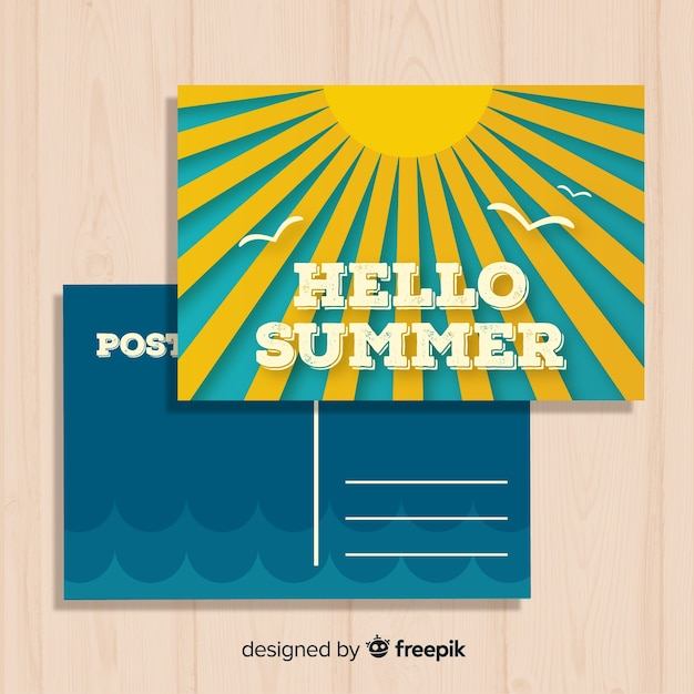 Vintage summer holiday postcard template Free Vector