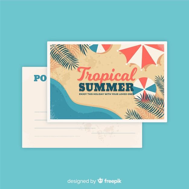Vintage summer holiday postcard Free Vector