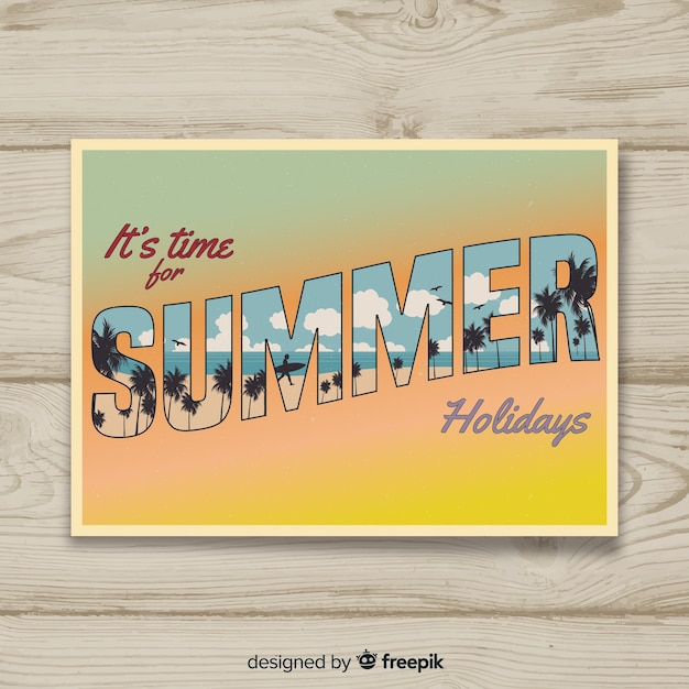 Vintage summer holiday postcard Free Vector