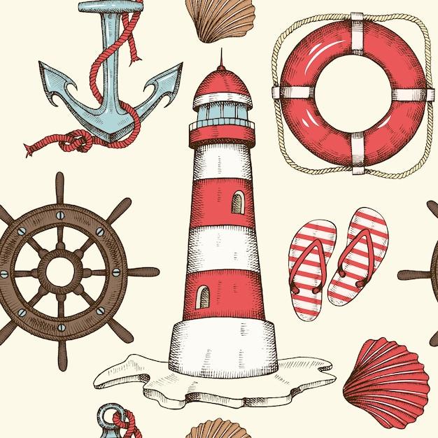 Vintage summer nautical seamless background with hand drawn wheel Premium Vector