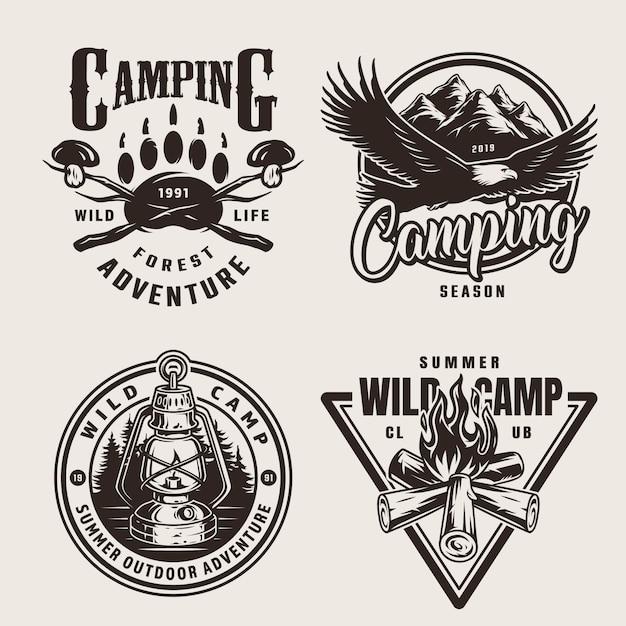 Vintage summer outdoor adventure emblems Free Vector