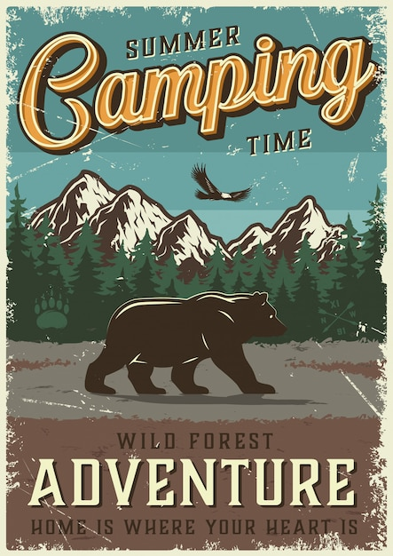 Vintage summer outdoor camping poster Free Vector