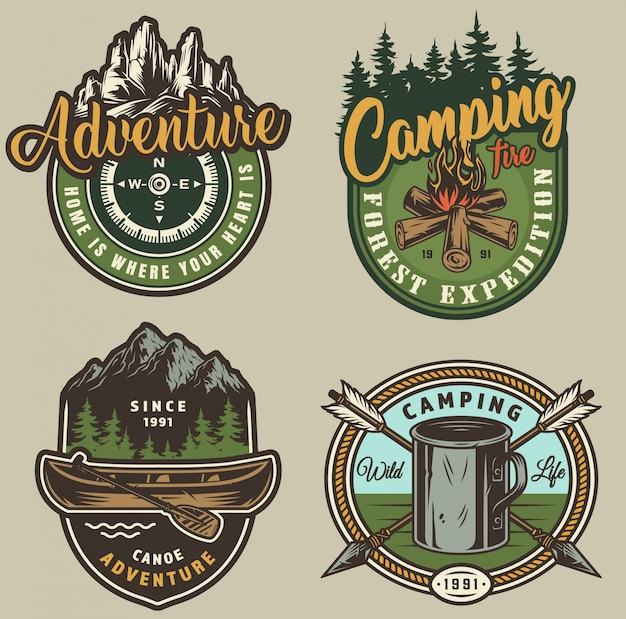 Vintage summer outdoor recreation labels Free Vector