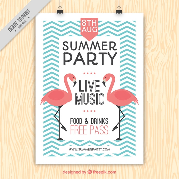 Vintage summer party poster with flamingos and zig-zag lines Free Vector
