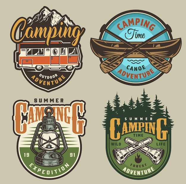 Vintage summer recreation badges Free Vector