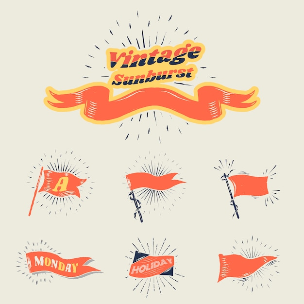 Vintage sunburst flags Free Vector