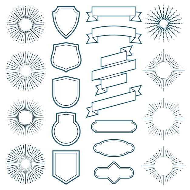 Vintage sunburst frames, ribbon and labels vector elements in art deco style Premium Vector