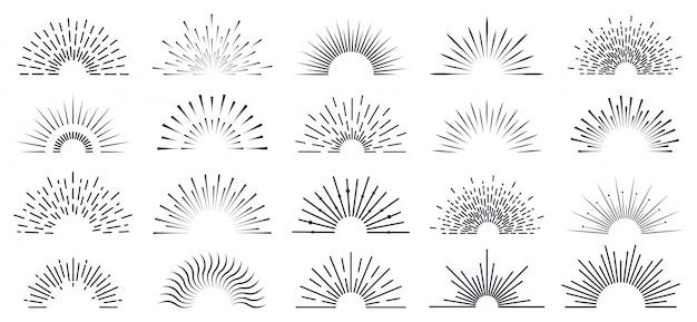 Vintage sunburst. retro radiant sunburst, starburst hand drawn label, sun rays, firework radiant rays. bursting explosion lines   icon set. sunshine radial, starburst linear illustration Premium Vector