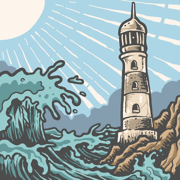 Vintage sunny lighthouse panorama Premium Vector
