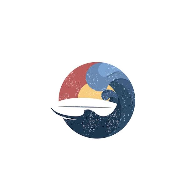 Vintage sunset beach surfing logo Vector | Premium Download