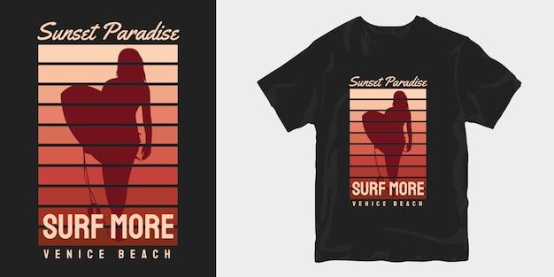 Винтажный закатный рай, дизайны футболок venice beach Premium векторы