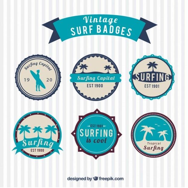 Vintage Surf Badges Free Vector