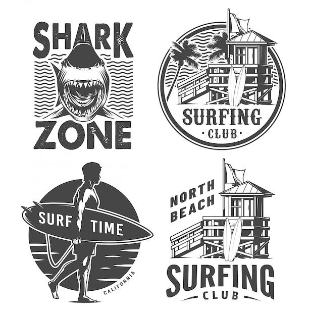 Vintage surf logos monochrome set Free Vector