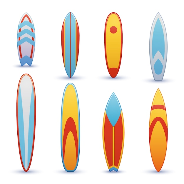 Vintage surfboards with cool set. surfing shortboard, illustration of funboard Premium Vector