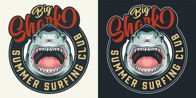 Vintage surfing club colorful round print Free Vector