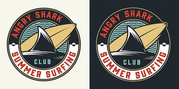 Vintage surfing club round colorful label Free Vector