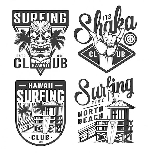 Vintage surfing logos set Free Vector