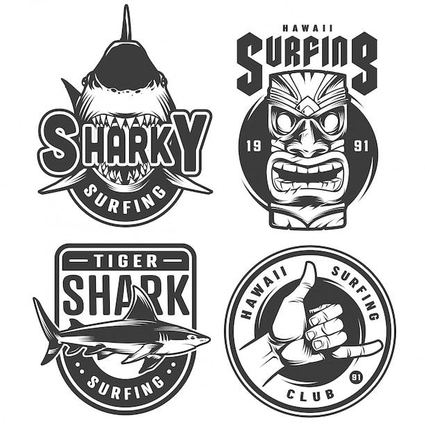 Vintage surfing monochrome emblems Free Vector