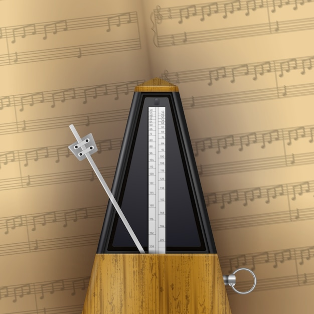 Vintage swinging metronome on page of music notebook  realistic Free Vector