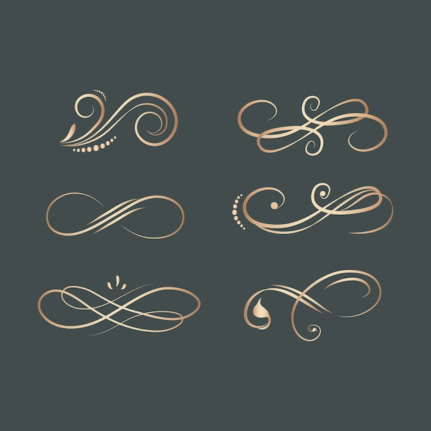 Vintage swirl design elements Free Vector