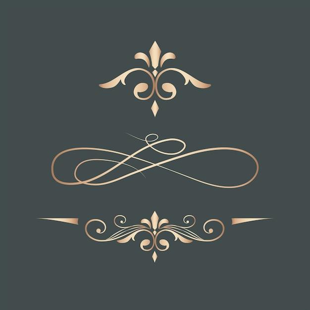 Vintage swirl design elements Free Vector