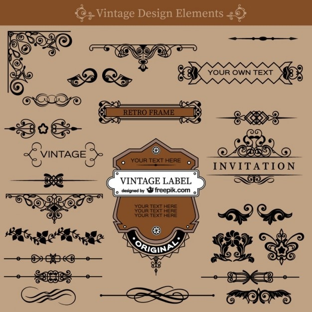 Vintage swirls decorations set vector free download vintage swirls decorations set free vector stopboris Image collections