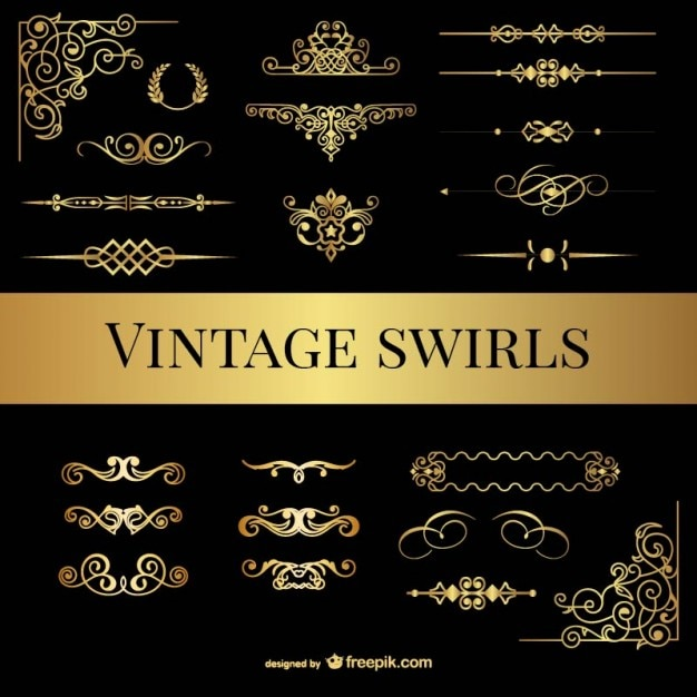 Vintage swirls pack Free Vector