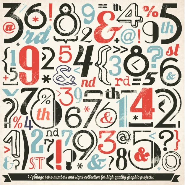 Vintage symbol and number collection Free Vector