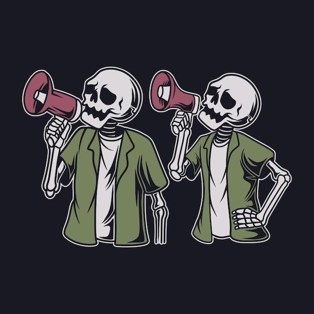 Vintage t shirt design skull holding a loudspeaker illustration