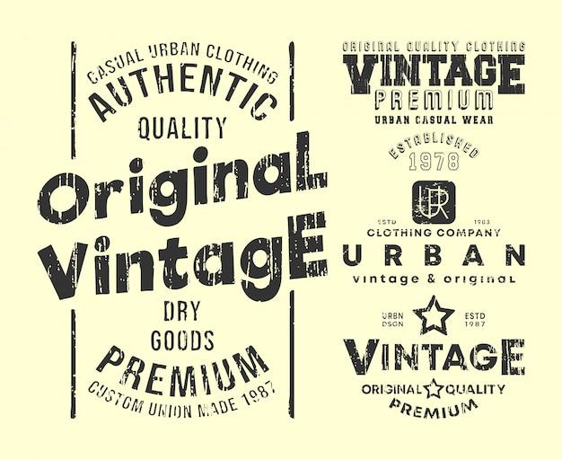 Vintage t-shirt print stamps set Premium Vector