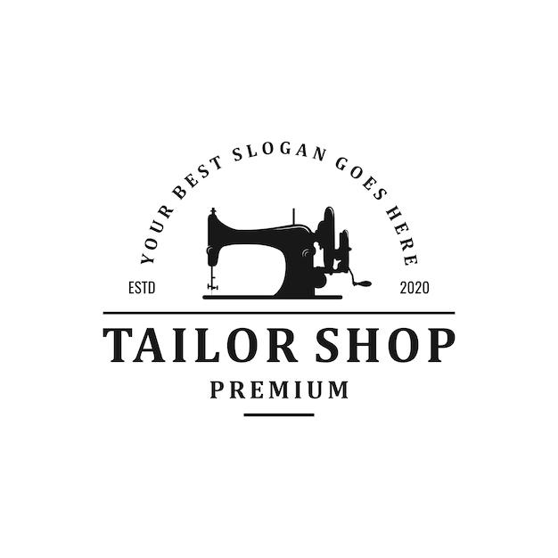 Vintage tailor shop logo design Premium Vector